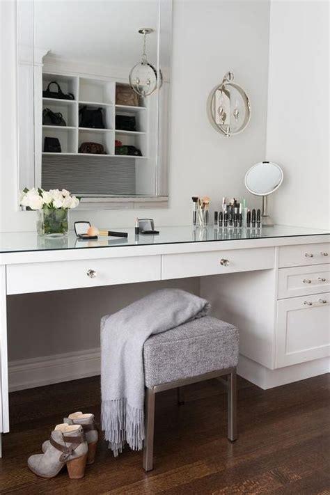 white built  makeup vanity  glass pulls