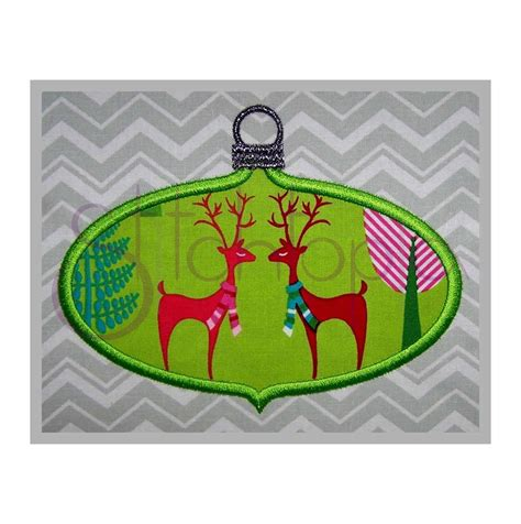 christmas ornament applique ornament applique design oval stitchtopia