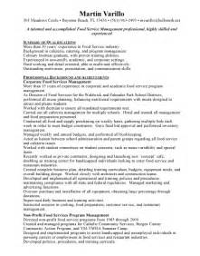 resume of a food server resume food service