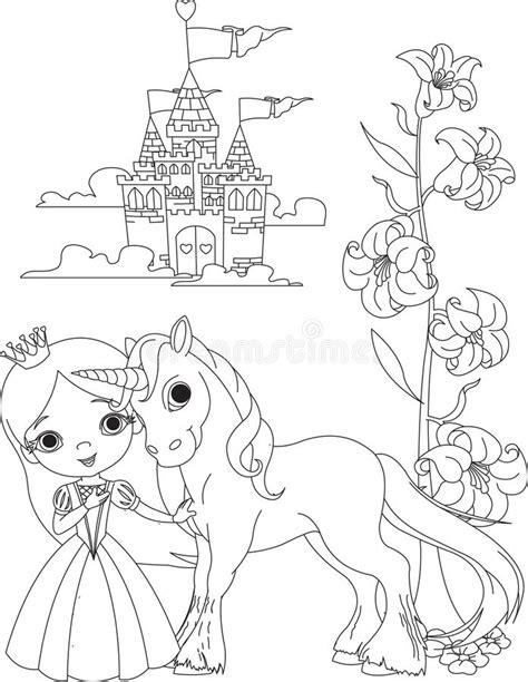 beautiful princess  unicorn coloring page stock vector