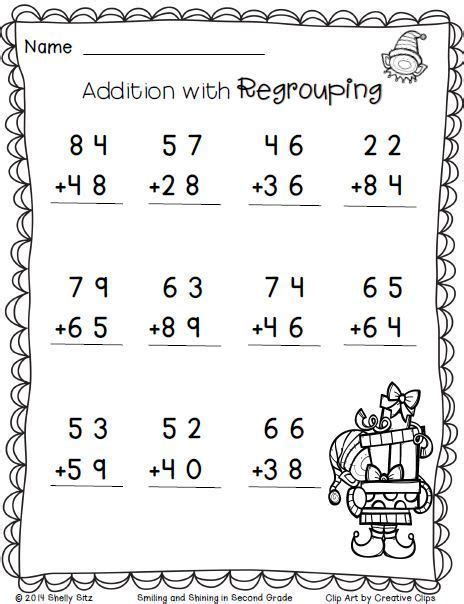 christmas math addition with regrouping free 2nd grade math worksheets recipes pinterest