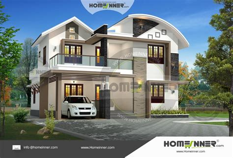 bedroom double floor house plans kerala style