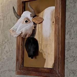 Tete De Vache Deco : cadre bois sculpt peint portrait de vache 50 40 20 d co montagne cow ~ Melissatoandfro.com Idées de Décoration