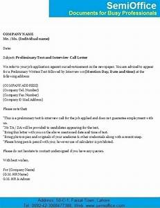 sample application letter for job interview With interview call letter template