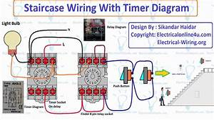 Staircase Wiring With Timer Diagram Explain  Hindi  Urdu
