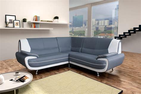 canapé d angle gris blanc amanda canapé d 39 angle similicuir gris blanc 2a2