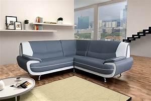 Canapé D Angle Gris : amanda canap d 39 angle similicuir gris blanc 2a2 meuble et mobilier ~ Teatrodelosmanantiales.com Idées de Décoration