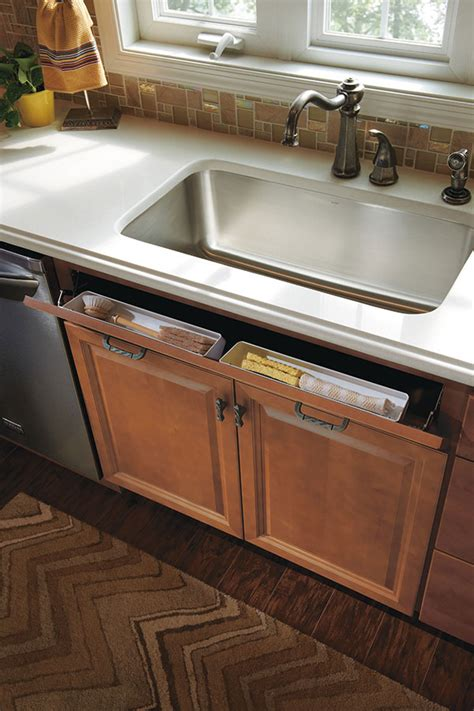 tilt out trays for kitchen sink tilt out tray homecrest cabinetry 9475