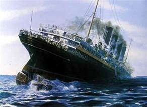 the lusitania after being torpedoed of the coast by a german submarine may 1915 while