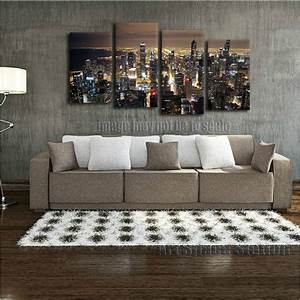 chicago skyline giant wall art home decor hd canvas print With chicago wall art