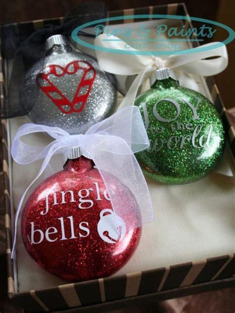 diy glitter ornaments  vinyl decals vinyl christmas ornaments