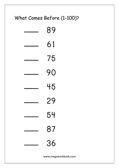 ordering numbers worksheets missing numbers