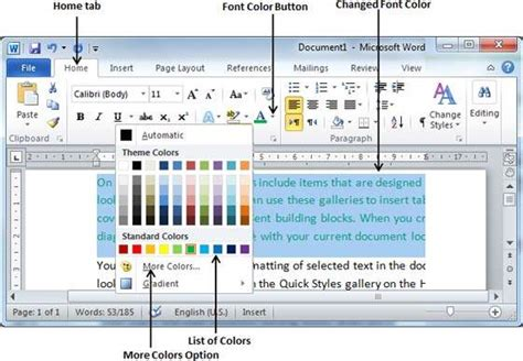 how to change the color of text in html change text colors in word 2010