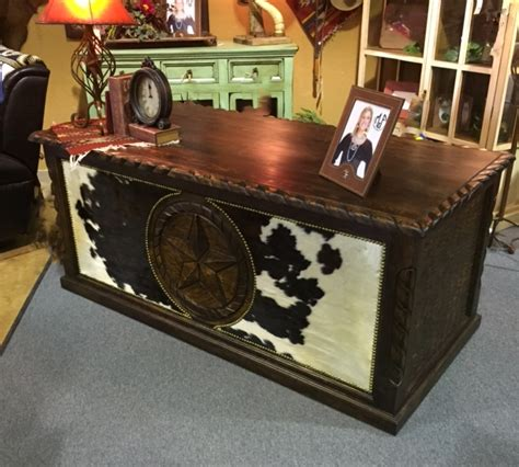 Cowhide Desk by Cowhide Executive Desk Santa Fe Company Okc