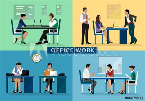 Office Work Design Concept Set With People Working Hard On
