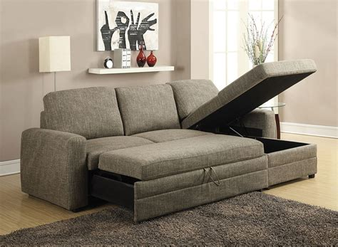 Derwyn Light Brown Linen Sectional Sofa Pull Out Bed W