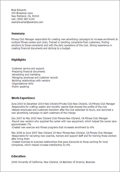 professional fitness club manager templates to showcase