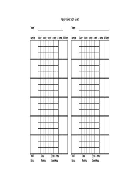 blank cricket score sheet