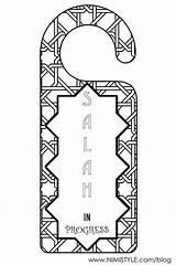 Hanger Door Printable Hangers Islamic Progress Salah Knob Ramadan Doorhanger Praying Prayer Islam Nimi Visit Coloring sketch template