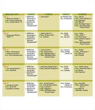 meal plan templates word  docs  premium