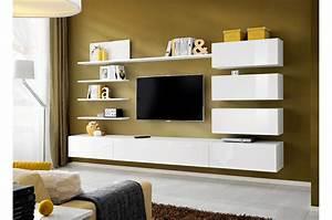 Meuble Design Tv Mural : ensemble meuble tv mural design blanc ~ Teatrodelosmanantiales.com Idées de Décoration