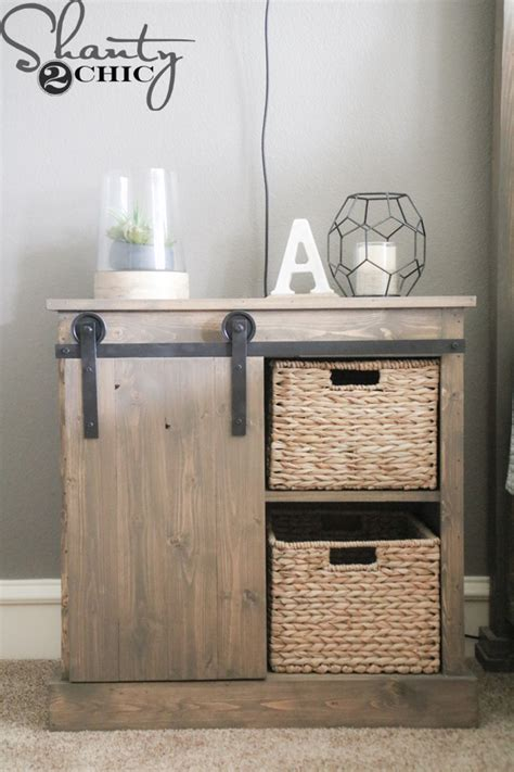sliding barn door nightstand diy shanty  chic