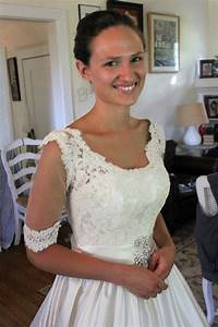 Adding a lace overlay to a strapless wedding gownthread for How to add sleeves to a strapless wedding dress