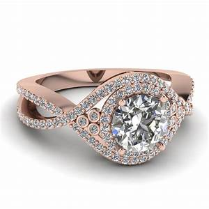 Rose gold round diamond ring round cut diamond engagement for White diamond wedding ring
