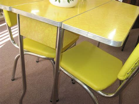 retro drop leaf kitchen tables and chairs   Yellow 1950?s