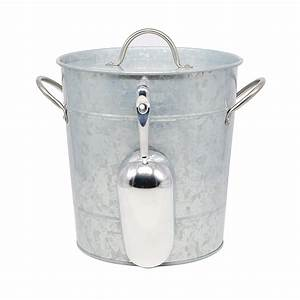 Essential, Home, Aged, Galvanized, Steel, Ice, Bucket, W, Stainless, Steel, Handle