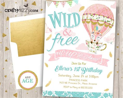 Up Up and Away First Birthday Invitation Girl Wild and