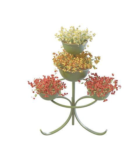 Metal plant stand with decorative flowers 3d model 3ds max