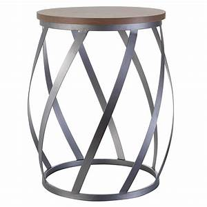 Round metal side table with wood veneer top coffee tables for Round wire coffee table