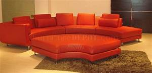 Red leather ultra modern modular 4 piece sectional sofa a94 for Red leather modular sectional sofa