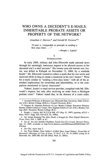 owns  decedents  mails inheritable probate assets