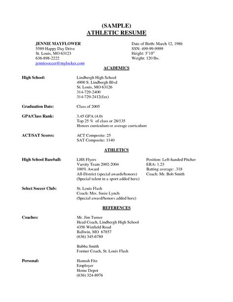 Resume Templates High School by High School Senior Resume Sle Scope Of Work Template
