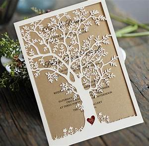 laser cut tree wedding invitation fall wedding invitation With tree slice wedding invitations
