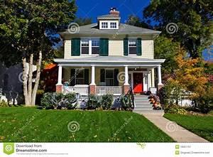 Single Family House Prairie Style Home Autumn Fall Stock ...
