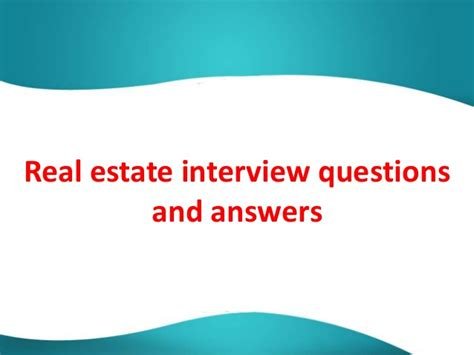 real estate questions and answers