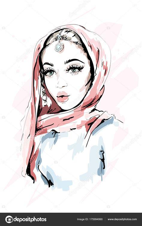 beautiful muslim woman wearing hijab fashion woman