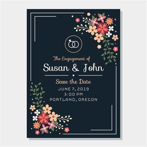 Engagement Invitation Template Vector Download Free