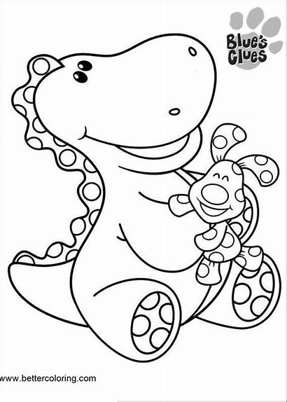 Clues Coloring Pages Dinosaur Printable Blues Adults