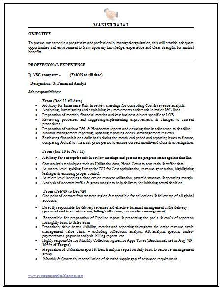 resume of financial reporting analyst 10000 cv and resume sles with free