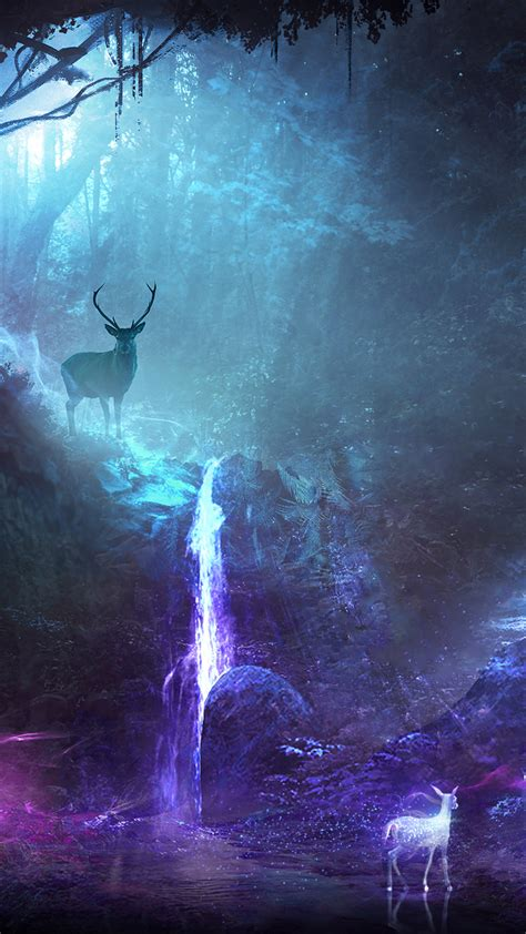 deer animal night fantasy waterfall sony xperia
