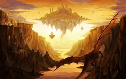 Castle Fantasy Dragon Dragons Floating Around Mountain
