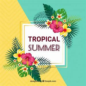 Summer background with tropical flowers Vector Free Download