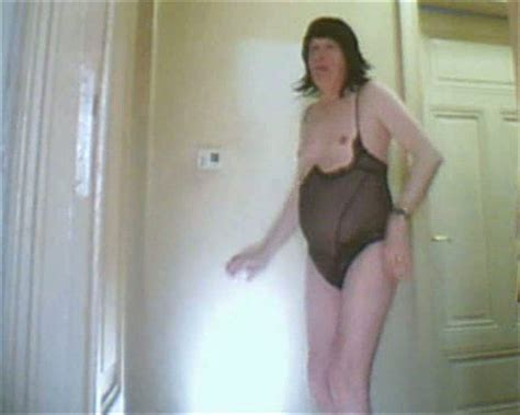 Ugly Old Crossdresser In See Through Negligee Acts Like A