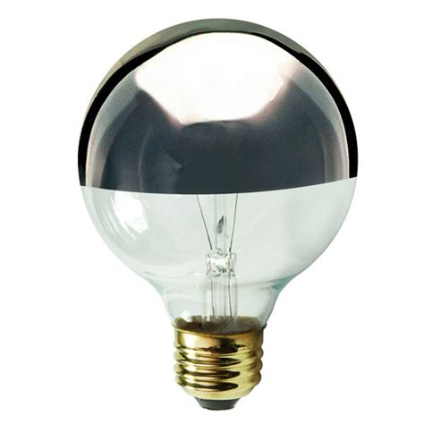 60w g25 globe light bulb clear silver bowl