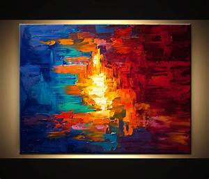 Painting - original colorful abstract modern palette knife