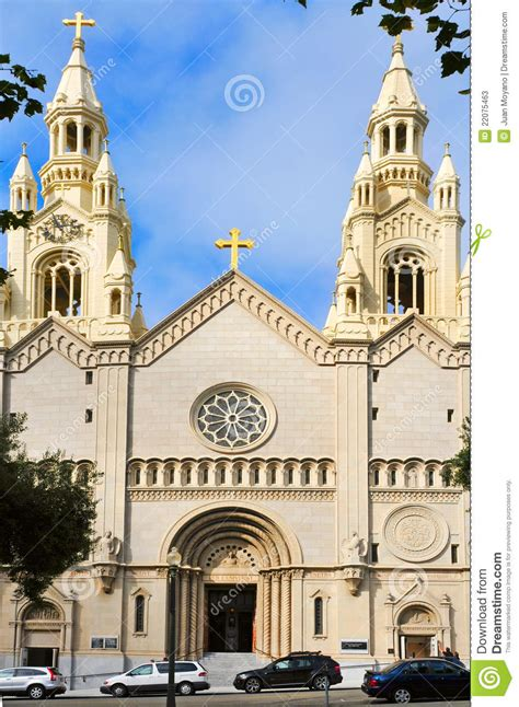 saints peter  paul church  san francisco stock